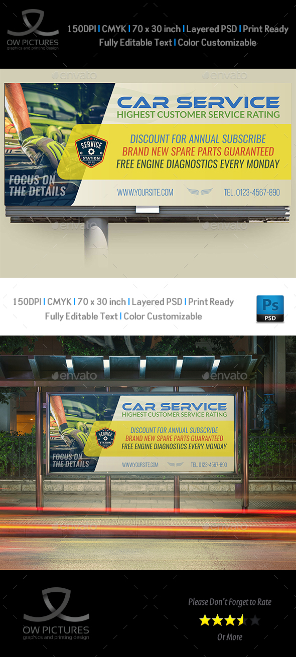 Car Service Billboard Template - Signage Print Templates