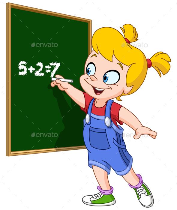 Girl Writing on Blackboard - People Characters