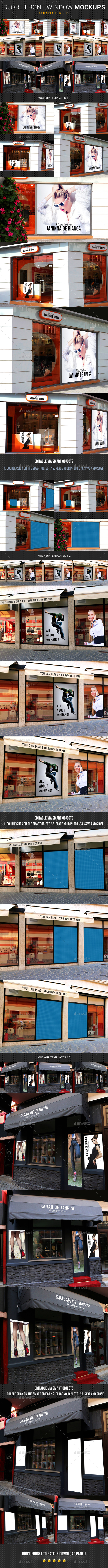 Store Front Window Mock-Up Bundle - Posters Print