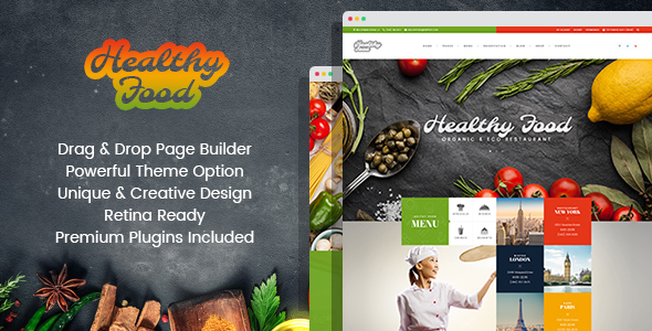 Healthy Food - Organic & Eco Restaurant WordPress Theme - Restaurants & Cafes Entertainment