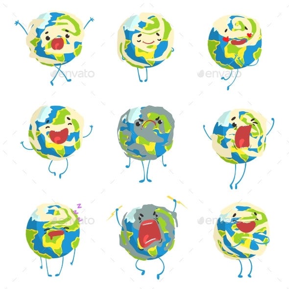 Planet Earth Emoji Showing Different - Miscellaneous Vectors
