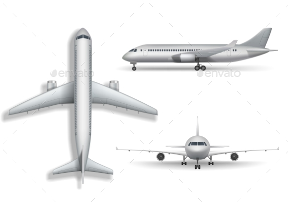 Silver Realistic Airplane Mock Up Isolated - Man-made Objects Objects