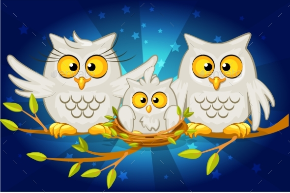 Cartoon Funny Family of Grey Owls - Animals Characters