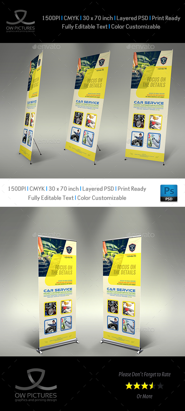 Car Service Signage banner Roll Up Template - Signage Print Templates