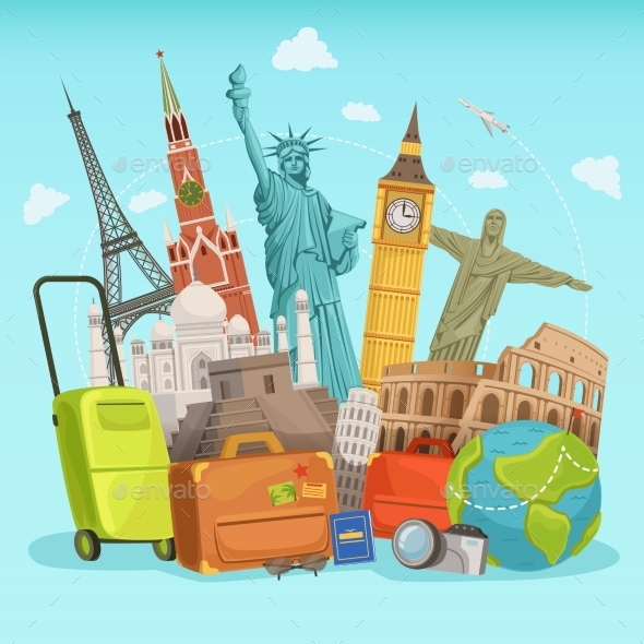 Travel Poster Design with Different World - Objects Vectors