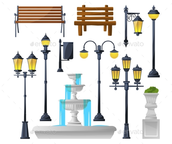 Urban Elements Set. Street Lamps, Fountain, Park - Objects Vectors