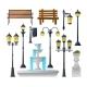 Urban Elements Set. Street Lamps, Fountain, Park
