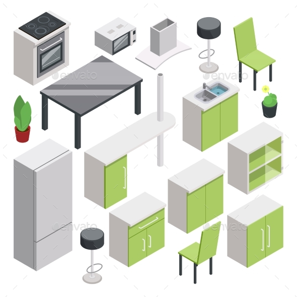 3D Room Design. Vector Isometric Furniture Set - Objects Vectors