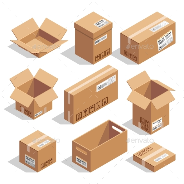 Opening and Closed Cardboard Boxes. Isometric - Objects Vectors