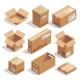 Opening and Closed Cardboard Boxes. Isometric - GraphicRiver Item for Sale