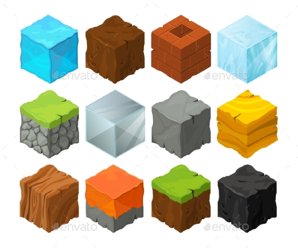 Isometric Blocks with Different Texture for 3D - Web Elements Vectors