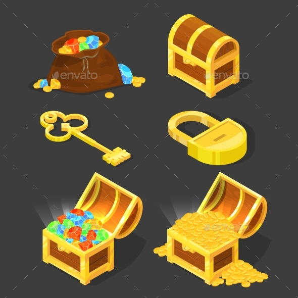 Old Wooden Chest with Treasures, Vintage Key - Objects Vectors