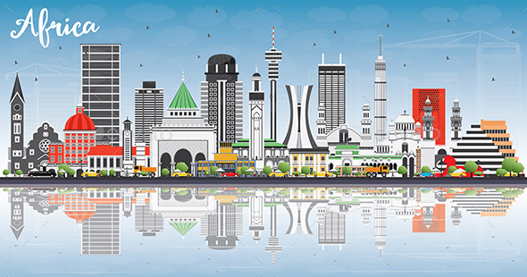 Africa Skyline with Famous Landmarks and Reflections - Buildings Objects