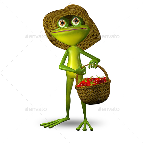 3d Illustration Frog with Strawberry - Characters 3D Renders