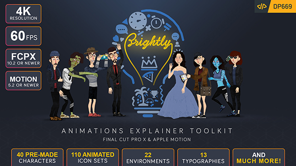 Brightly | Animations Explainer Toolkit - Final Cut Pro X & Apple Motion