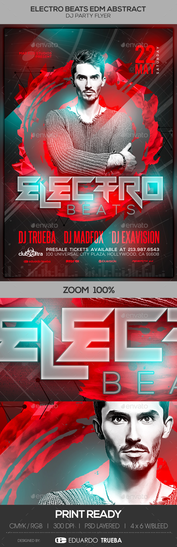 Electro Beats EDM Abstract Dj Party Flyer - Clubs & Parties Events