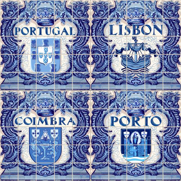Portugal Ceramic Tiles Vector Souvenir Lisbon Lisboa - Vectors