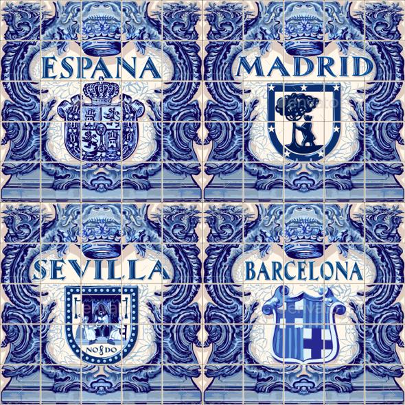 GraphicRiver Spain Ceramic Tiles Vector Blue Azulejo 20324422