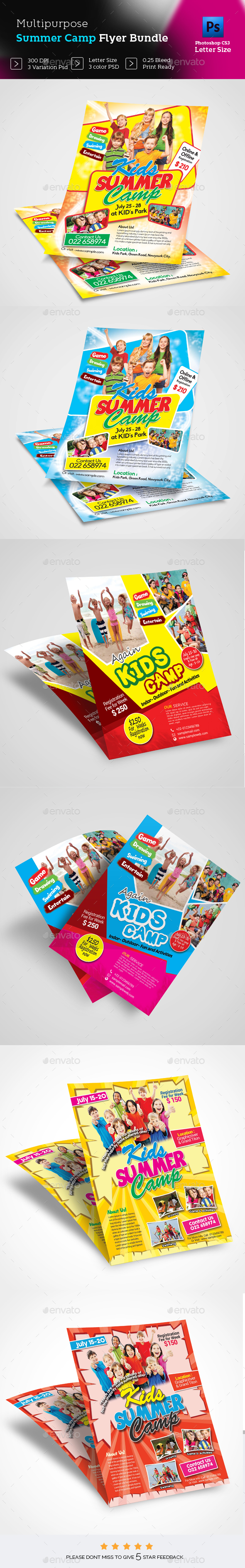 Kids Summer Camp Flyer Bundle - Flyers Print Templates