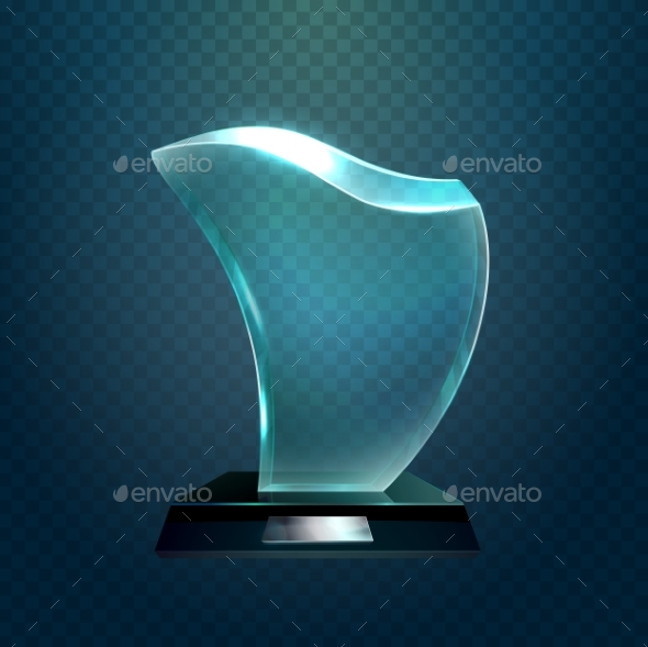Transparent Glassware Trophy or Glass Cup - Miscellaneous Vectors