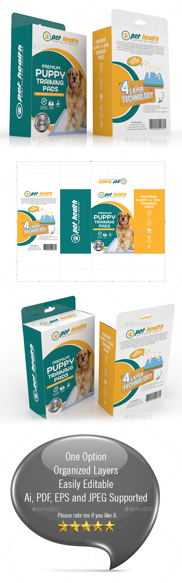 Dog Training Pad Packaging Template - Packaging Print Templates