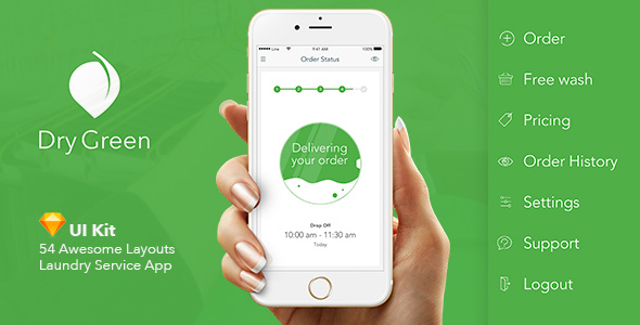 ThemeForest Dry Green Service App UI 20325334