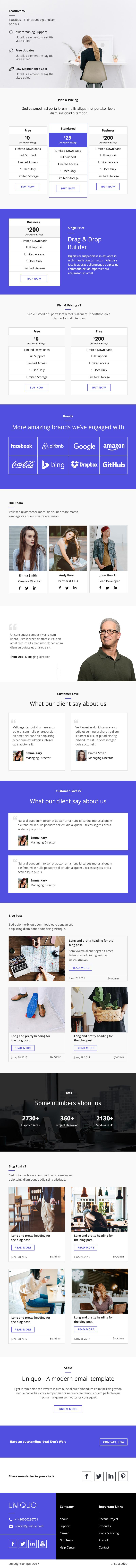 Uniquo - Multipurpose Responsive Email Design For Startups And ...