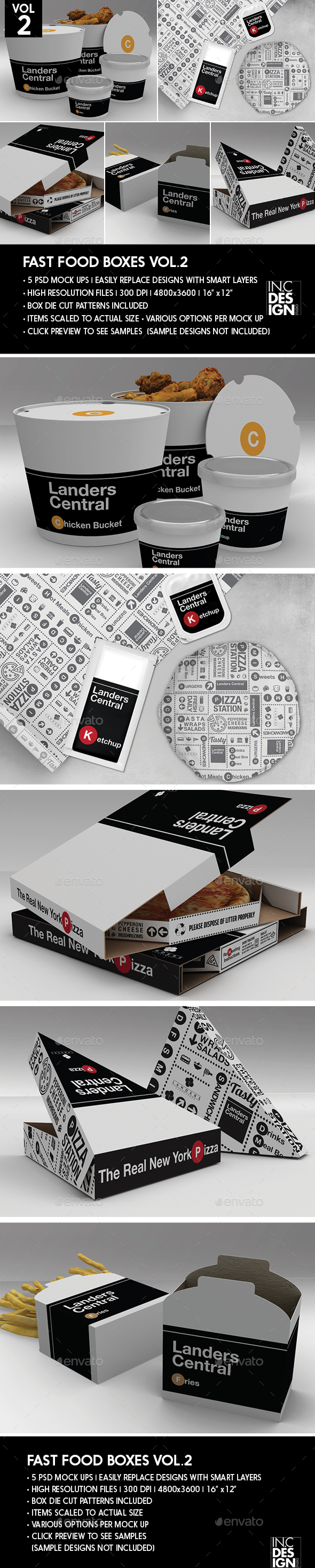 Fast Food Boxes Vol.2:Take Out Packaging Mock Ups