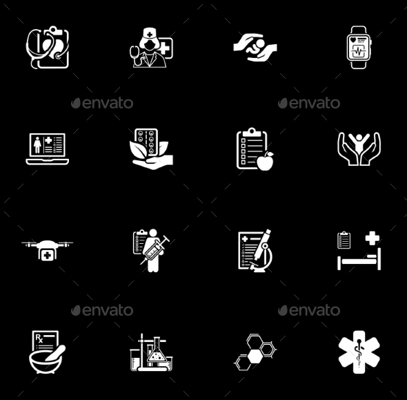 GraphicRiver Medical and Health Care Icons Set Flat Design 20325729