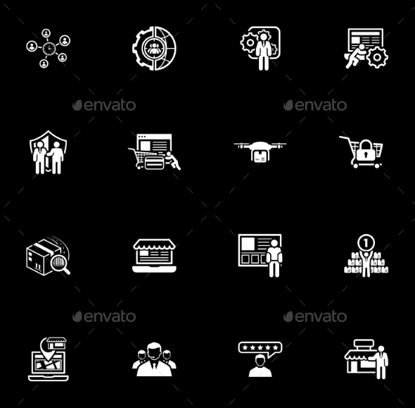 Flat Design Business Icons Set. - Technology Icons