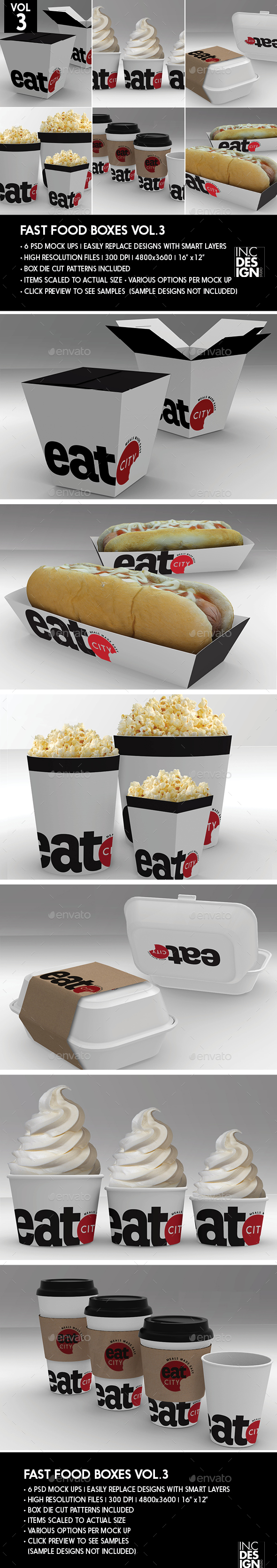 Fast Food Boxes Vol.3:Take Out Packaging Mock Ups