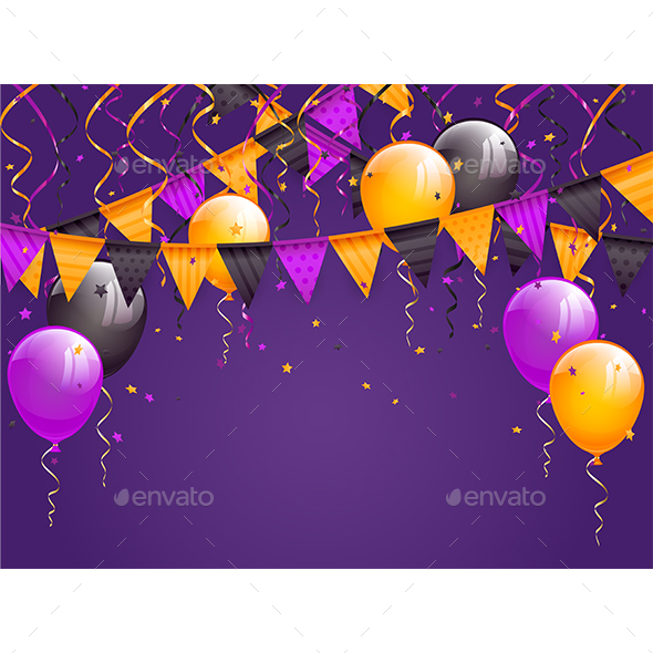 GraphicRiver Halloween Pennants and Balloons on Violet Background 20325960