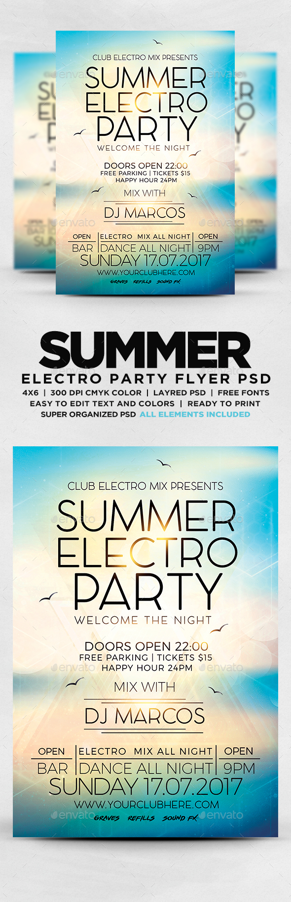 GraphicRiver Summer Electro Party Flyer 20326408