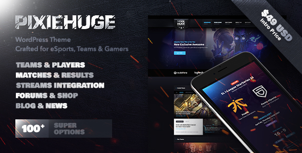 ThemeForest PixieHuge eSports Gaming Theme For Clans & Organizations 20175845