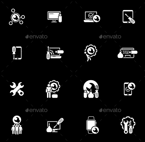 Repair Service and Maintenance Icons Set. - Technology Icons
