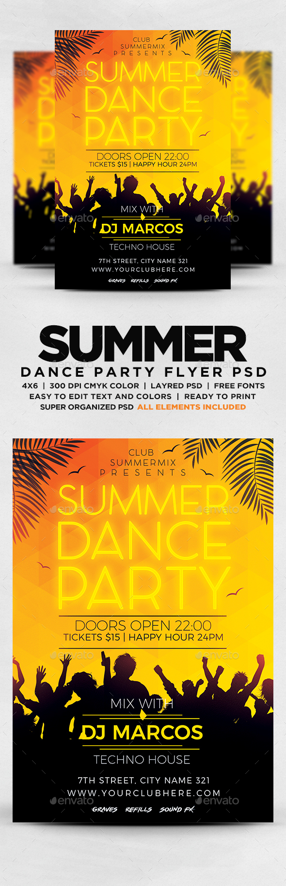 GraphicRiver Summer Dance Party Flyer 20326574