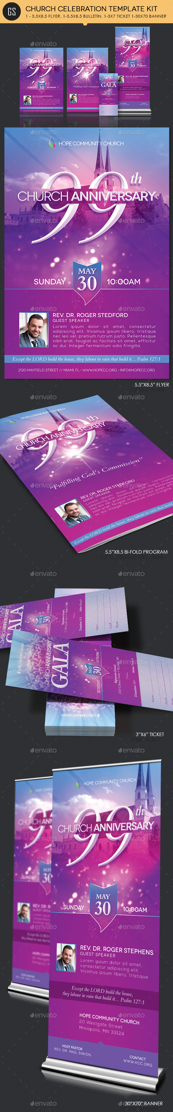 Church Celebration Template Kit - Church Flyers