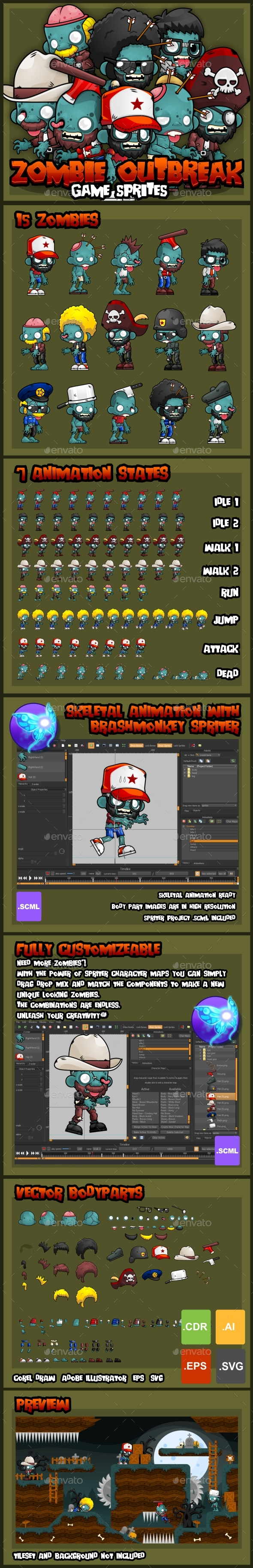Zombie Outbreak - Game Sprites - Sprites Game Assets