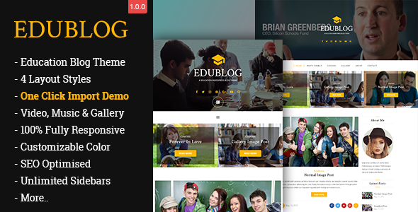 EduBlog– A Education WordPress Blog Theme