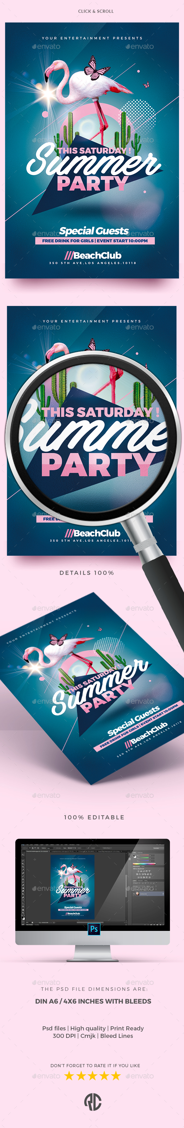 Summer Party - Flyer Templates - Clubs & Parties Events