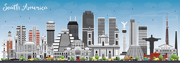 South America Skyline with Famous Landmarks. - Buildings Objects