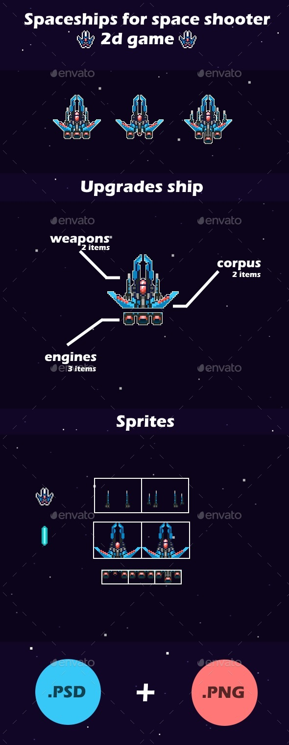 Customizes Spaceships | 2d Game Sprites - Miscellaneous Game Assets