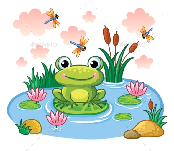The Frog Sits on a Leaf in the Pond. - Animals Characters