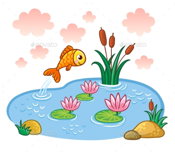 The Fish Jumps Into the Pond. - Animals Characters
