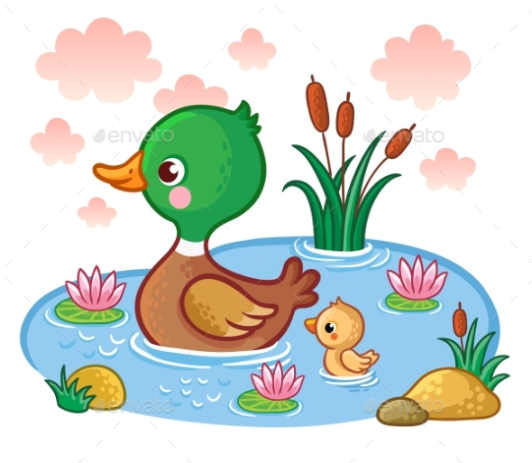 A Duck with Ducklings Floats on the Lake. - Animals Characters