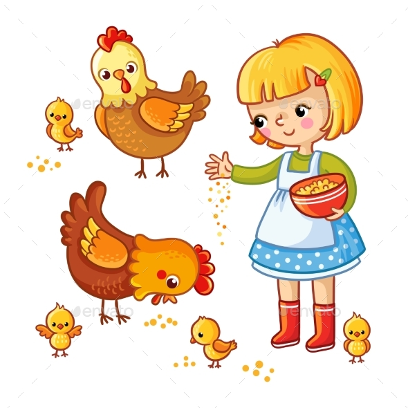Girl Feeding Hens and Chickens. - Animals Characters