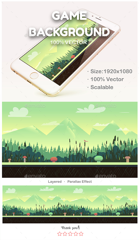 Nature landscape in Green Colours - Backgrounds Game Assets