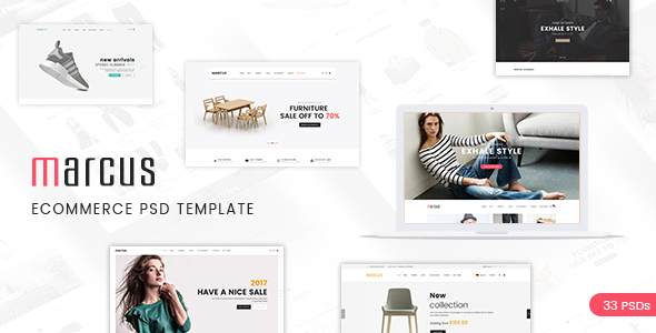 Marcus - Multipurpose WooCommerce and Magento PSD Template - Retail PSD Templates