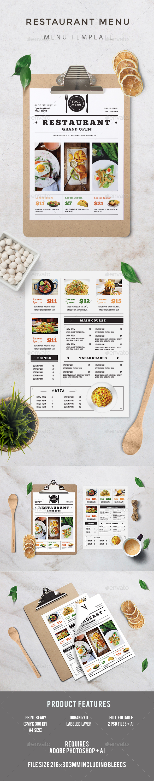 Restaurant Menu - Food Menus Print Templates