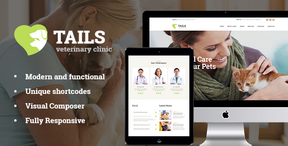 Tails | Veterinary Clinic, Pet Care & Shop WordPress Theme